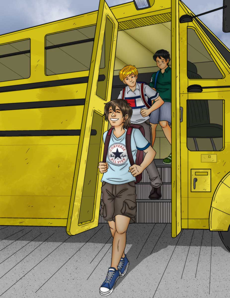 Three boys getting off a school bus, the first dressed in all Converse clothing