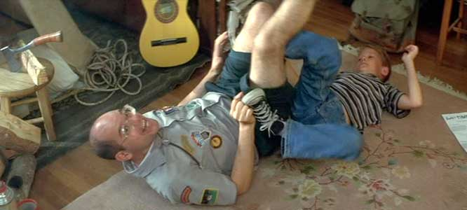 Andy and Scottie wrestling on the floor shot 2