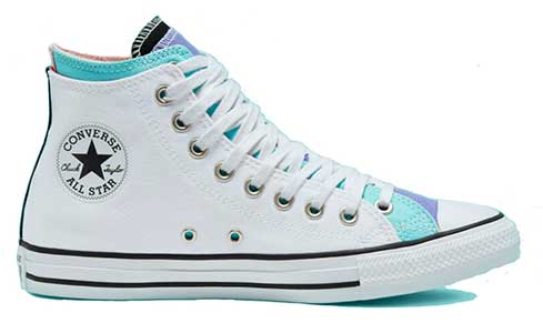 White and aqua double upper high top