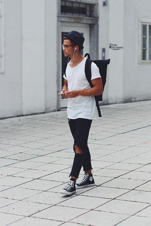 black jeans black converse