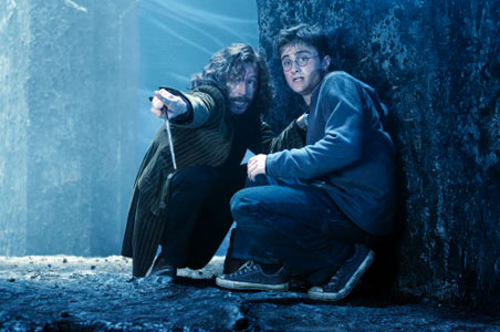 Sirius Black points out to Harry where the attack is coming from