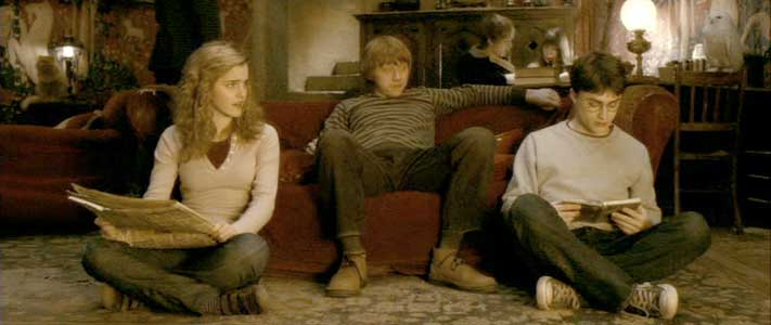 Harry is united with his best friends Hermoine and Ron