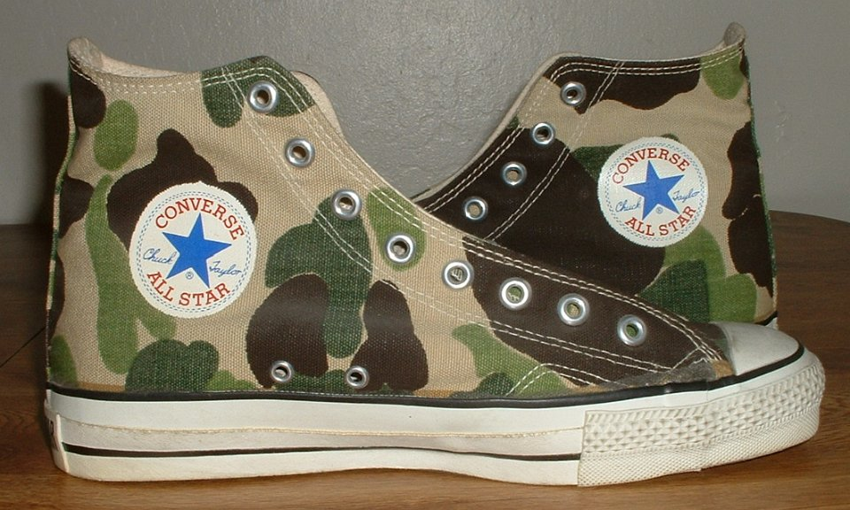 9c54ceaa77a1 32 Mark Recob Vintage Chucks Collection Inside patch views of olive drab  camouflage vintage Chuck Taylor All Star high tops.