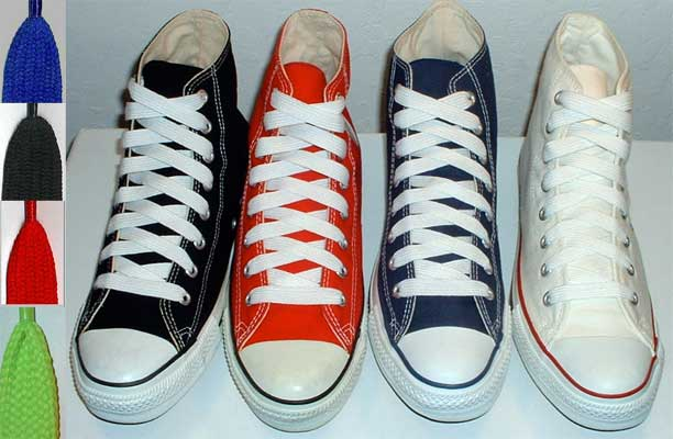 Retro shoelaces on core color pairs of high top chucks