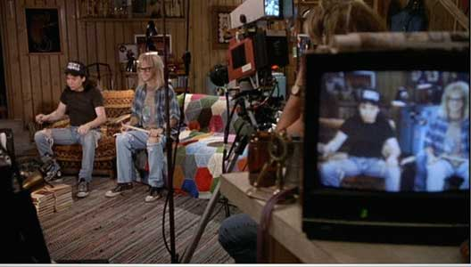 Wayne's World is broadcast from the basement in Wayne's house